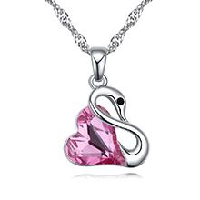 奥地利水晶项链--柔情天鹅(玫红)
