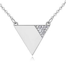 AAA级微镶锆石项链--倒三角(白金)