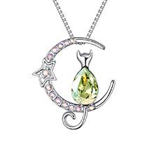 奥地利水晶项链--星月猫咪(夜光绿)