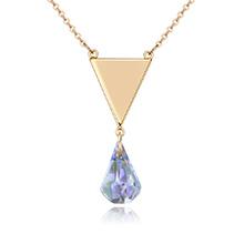奥地利水晶项链--三角泪(香槟金+彩白)
