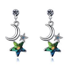 奥地利水晶耳钉--星月溢彩(七彩)