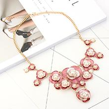欧美精致珍珠花朵项链(红色)