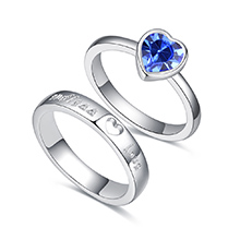 奥地利水晶情侣对戒--爱之初(蓝色)