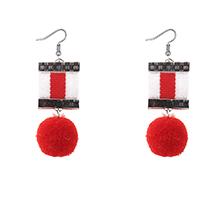 韩版时尚个性毛球耳环(红色)