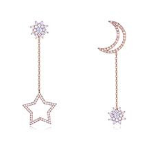 S925银针AAA级微镶锆石耳钉--日月星辰(玫瑰金)