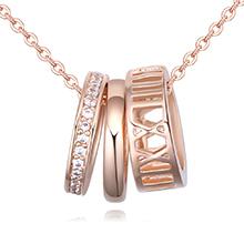 AAA级微镶锆石项链--三生环(玫瑰金)