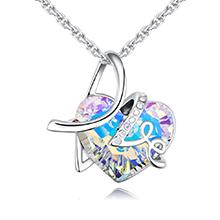 奥地利水晶项链--爱相随B款(彩白)