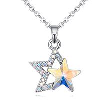 奥地利水晶项链--璀璨双星(彩白)