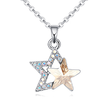 奥地利水晶项链--璀璨双星(金色魅影)