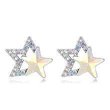 奥地利水晶耳钉--璀璨双星(彩白)