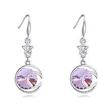奥地利水晶耳环--清风朗月(紫罗兰)