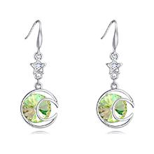 奥地利水晶耳环--清风朗月(夜光绿)