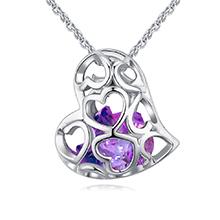 镀真金水晶项链--像心如意(紫罗兰)