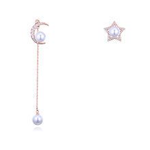 S925银针AAA级微镶锆石耳钉--星月捧珠(玫瑰金)