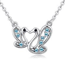 进口水晶项链--鸳鸯天鹅(海蓝)