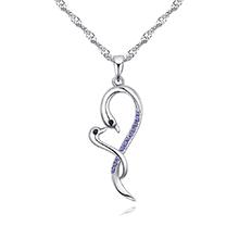 进口水晶项链--相依相偎(藕荷紫)