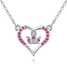进口水晶项链--浪漫女王(玫红)