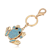 进口水晶钥匙扣--青蛙王子(海蓝)