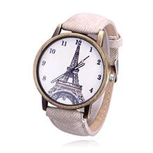 韩版时尚复古铁塔牛仔帆布皮带学生手表(米色)