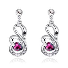 奥地利水晶耳钉--浪漫天使(紫红)