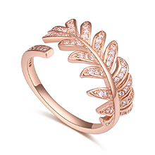 AAA级锆石戒指--甜美叶子(玫瑰金)