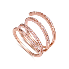 AAA级锆石戒指--指轮(玫瑰金)