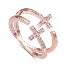 AAA级锆石戒指--双十字架(玫瑰金)