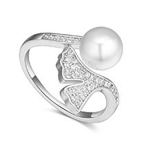 AAA级锆石戒指--诗韵银杏(白金)