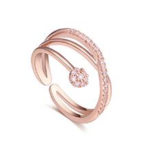 AAA级锆石戒指--绕指柔情(玫瑰金)