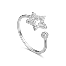 AAA级锆石戒指--流动星光(白金)