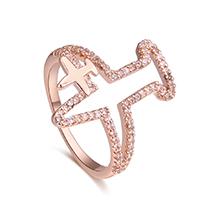 AAA级锆石戒指--爱的航线(玫瑰金)