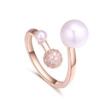 AAA级微镶锆石戒指--爱之密语(玫瑰金)