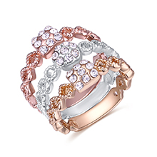 韩版时尚百搭水晶三件套装戒指