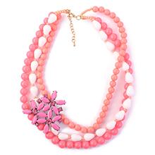 欧美时尚波西米亚多层珠珠花朵项链(玫红)