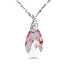 奥地利水晶项链--天使泪(浅玫红)