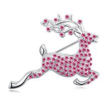 进口水晶胸针--快乐小鹿(玫红)
