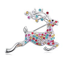 进口水晶胸针--快乐小鹿(彩色)