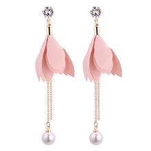 韩版时尚气质叶子珍珠流苏锆石耳钉(粉色)
