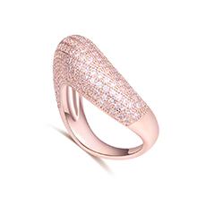 AAA级微镶锆石戒指--幸福爱巢(玫瑰金)