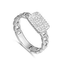 AAA级微镶锆石戒指--魔方密语(白金)