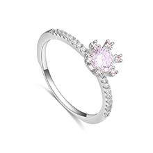 AAA级微镶锆石戒指--浪漫佳人(白金)