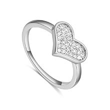AAA级微镶锆石戒指--简约爱(白金)