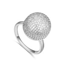 AAA级微镶锆石戒指--合欢铃(白金)