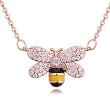 AAA级微镶锆石项链--可爱蜜蜂(玫瑰金)