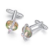 奥地利水晶袖扣--闪耀星球(夜光绿)