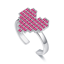 AAA级微镶锆石戒指--少女心(紫红)