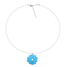 韩版创意个性手工编织水晶球吊坠项链(蓝色)