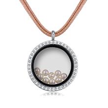 欧美创意个性镶钻磁铁开合式玻璃吊坠项链(白金+棕色绳)