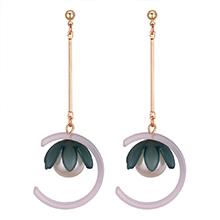 韩版个性甜美半圆花朵珍珠长款耳钉(暗绿)