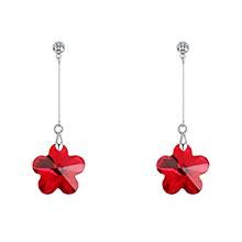 奥地利水晶耳钉--气质梅花(浅红)